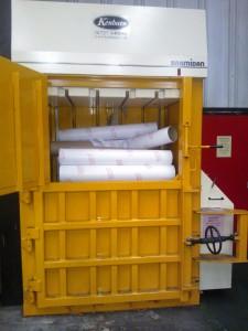 Cardboard tubes baled in Bramidan 4-0S(50) baler - Kenburn